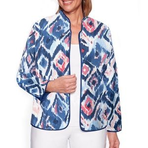 Alfred Dunner Jacket Ikat Print Quilted Open Front